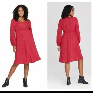 Isabel Maternity long Sleeve Ruby Floral Dress